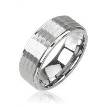 Obrączka z wolframu srebrnego koloru, szlifowany wzór, 8 mm