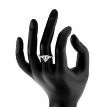 Pierścionek ze srebra 925, błyszczące cyrkoniowe przezroczyste serce