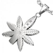 Zawieszka liść marihuany z cyrkonią