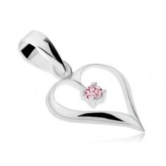 Prívesok zo striebra 925, lesklá kontúra srdca, ružový zirkón