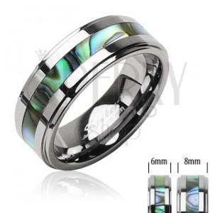 Tungsten pierścionek - obrączka z wolframu środkowy pas ze wzorem muszli