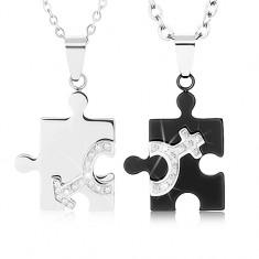 Naszyjniki dla dwojga ze stali 316L, elementy puzzle w dwóch kolorach