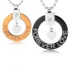 """Naszyjniki dla dwojga ze stali chirurgicznej, zarys koła, serduszko, """"Forever love"""""""