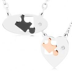 Naszyjniki ze stali chirurgicznej dla dwojga, owal i serce, elementy puzzle, cyrkonia