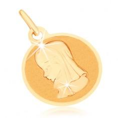 Złoty wisiorek 375 - okrągły płaski medalik, Maryja Panna