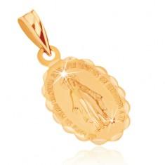 Wisiorek z żółtego złota 9K - dwustronny medalik z Maryją Panną