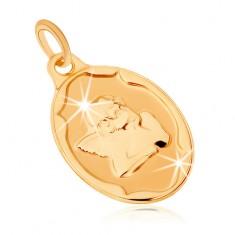 Złoty wisiorek 375 - owalna płytka, aniołek podpierający sobie ręką głowę