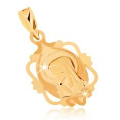 Wisiorek z żółtego złota 9K - medalik z Maryją Panną w ozdobnej ramce