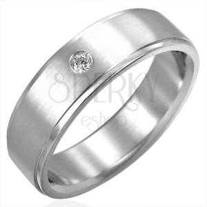 Szlifowany stalowy pierścionek z cyrkoniowym oczkiem