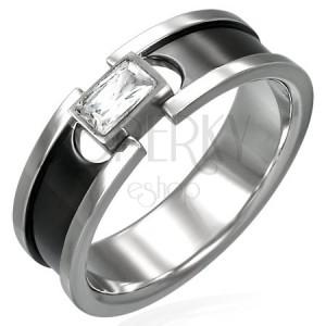 Stalowy pierścionek z cyrkonią - czarny pasek i lśniące krawędzie