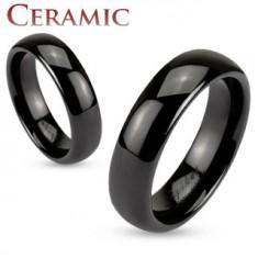 Ceramiczna obrączka czarnego koloru, lśniąca i gładka powierzchnia, 6 mm