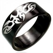 Czarny stalowy pierścionek symbol TRIBAL
