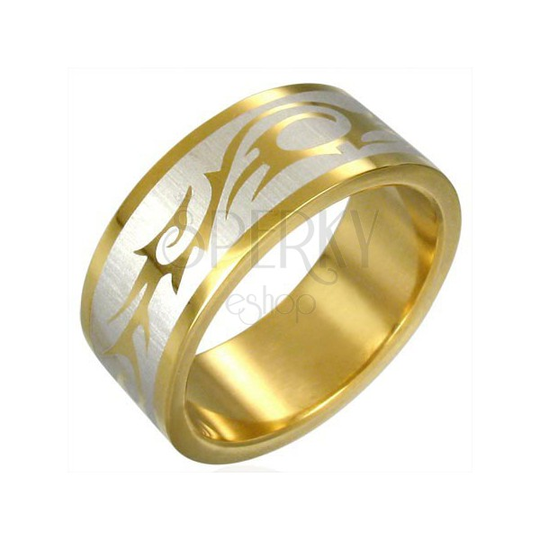 Pozłacany pierścionek SYMBOL TRIBAL