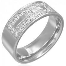 Stalowy pierścionek z motywem z cyrkonii