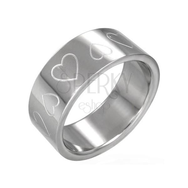 Stalowy pierścionek serduszka