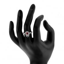 """Srebrny pierścionek 925, zarys spiczastej łzy, różowa cyrkonia, linia w kształcie """"V"""""""
