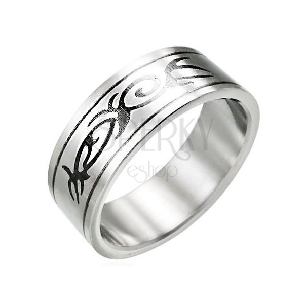 Stalowy pierścionek z motywem TRIBAL