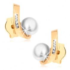 Kolczyki wkręty z żółtego złota - okrągła perła, zagięty pas z cyrkoniami