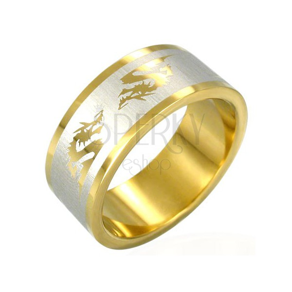 Pozłacany stalowy pierścionek chiński smok