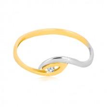 Złoty pierścionek 375 - asymetrycznie zagięte końce ramion, lśniąca cyrkonia