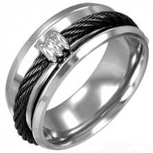 Pierścionek ze stali czarny łańcuch