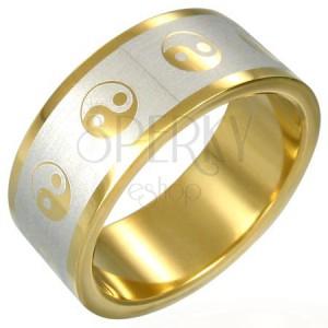 Pozłacany pierścionek Yin-Yang
