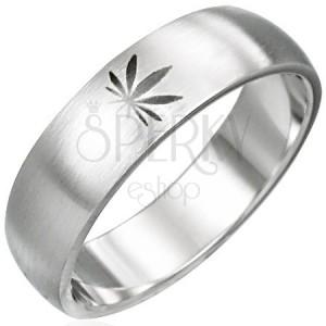 Stalowy pierścionek motyw marihuana