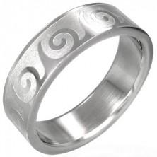Stalowy pierścionek z motywem fali