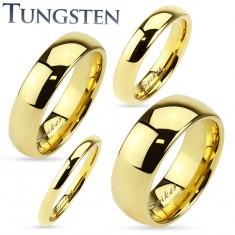 Tungsten obrączka złotego koloru, lśniąca i gładka powierzchnia, 2 mm