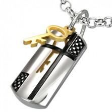 Stalowa zawieszka czarodziejski klucz i krzyż