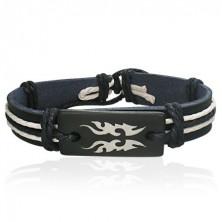 Czarna skórzana bransoletka symbol Tribal