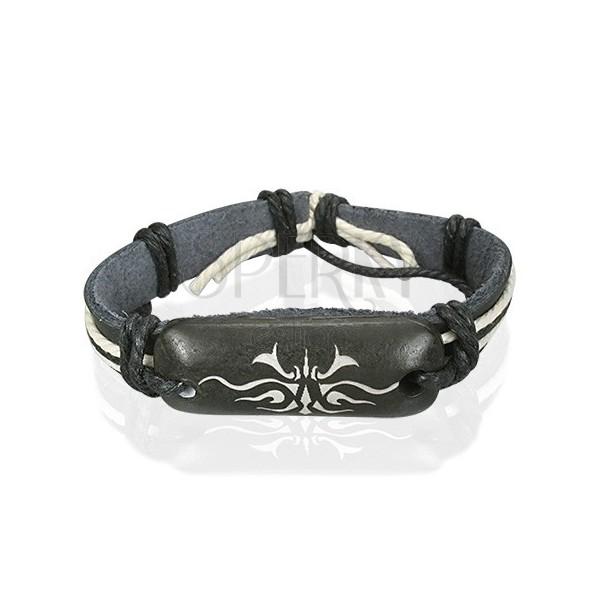 Czarna skórzana bransoletka z symbolem Tribal