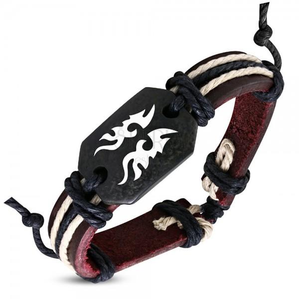 Brązowa skórzana bransoletka symbol Tribal