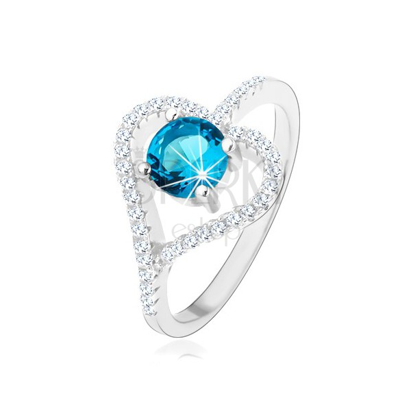 Zaręczynowy pierścionek ze srebra 925, cyrkoniowy zarys serca, niebieska cyrkonia