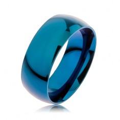 Obrúčka z ocele 316L, modrá farba, anodizovaný titánom, 8 mm