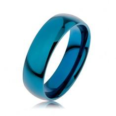 Prsteň z chirurgickej ocele v modrej farbe, povrch anodizovaný titánom, 6 mm