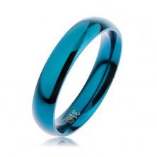 Pierścionek ze stali 316L w niebieskim kolorze, gładka zaokrąglona powierzchnia bez wzoru, 4 mm