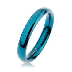 Niebieska stalowa obrączka, zaokrąglona gładka powierzchnia z wysokim połyskiem, 3 mm