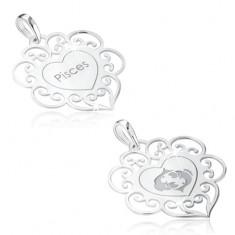 Wisiorek ze srebra 925, znak zodiaku RYBY, serce z ozdobami