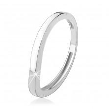 Srebrny pierścionek 925, falisty pas, lśniąca gładka powierzchnia