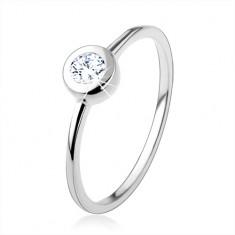 Srebrny 925 pierścionek, cienkie lśniące ramiona, przezroczysta cyrkonia w obwódce