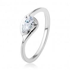 Srebrny pierścionek 925, cienkie ramiona, przejrzysta cyrkoniowa kropla, lśniący zarys