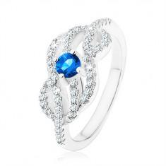 Srebrny 925 pierścionek, niebieska cyrkonia, splecione faliste linie