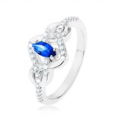 Srebrny pierścionek 925, niebieski cyrkoniowy owal, przeplecione linie zdobione cyrkoniami