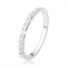 Zaręczynowy srebrny pierścionek 925, błyszczący pas z cyrkonii bezbarwnego koloru