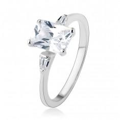 Zaręczynowy pierścionek, srebro 925, wielki cyrkoniowy prostokąt, małe trapezy