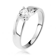 Srebrny pierścionek 925, szersze ramiona z nacięciem, okrągła błyszcząca cyrkonia