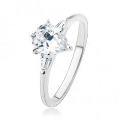 Zaręczynowy pierścionek ze srebra 925, przejrzysta cyrkoniowa kropla, dwa trapezy