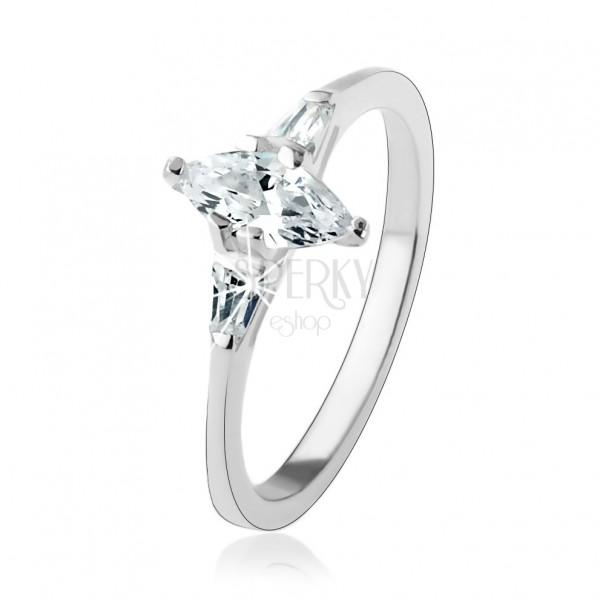 Zaręczynowy pierścionek ze srebra 925, przejrzysta ziarnkowa cyrkonia, błyszczące trapezy