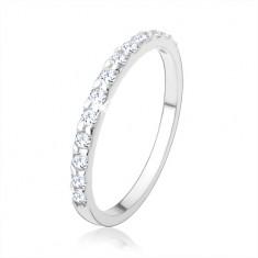 Srebrny pierścionek 925, błyszczący cyrkoniowy pas bezbarwnego koloru, gładkie ramiona